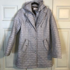 LAUNDRY by SHELLI SEGAL Med Silver Puffer Jacket